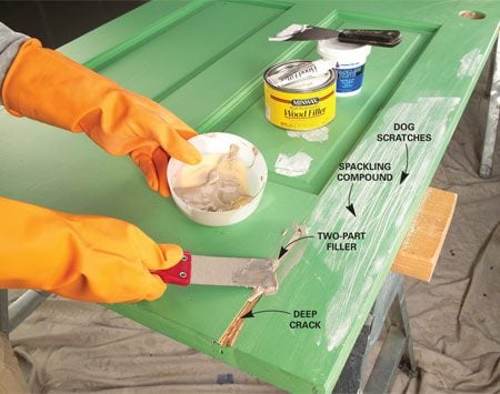<b>Overfill</b></br> Force two-part filler into large or deep holes with a putty knife. Spread spackling compound over small, shallow holes and scratches.