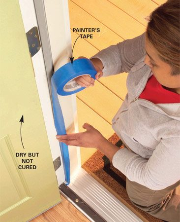 <b>Final touches</b></br> Cover weather stripping on an exterior door to prevent fresh paint from sticking to the weather stripping.