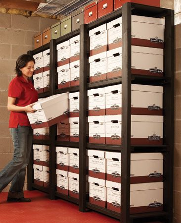 <b>Big box storage</b><br/>Build sturdy, simple shelves, custom sized to hold boxes or other storage containers.