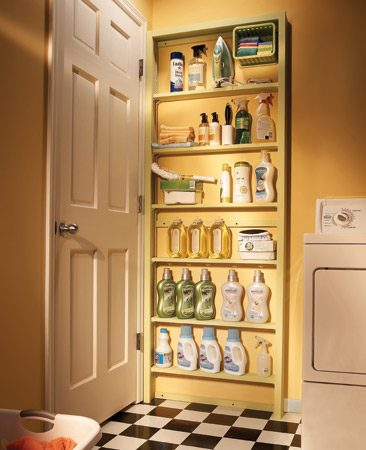 <b>Hidden shelves</b><br/>Build shallow shelves to fit behind the door in your laundry room, utility room or pantry.