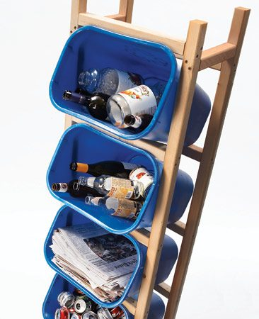 <b>Recycling solution</b><br/>Keep recycling neatly separated and off the ground with this vertical storage unit.
