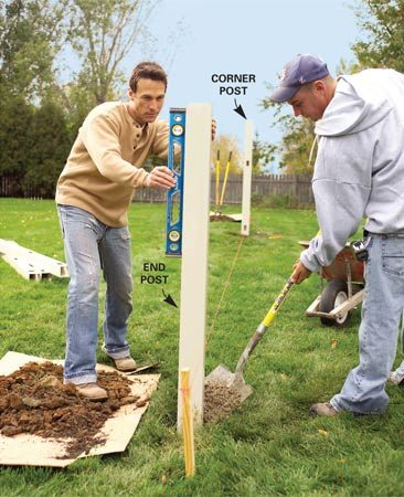 <b>Photo 1: Lay out the fence</b><br/>Stretch a string line tightly along the proposed fence run, locate the corner posts and dig 3-ft.-deep postholes. Plumb the posts and fill the holes with concrete.