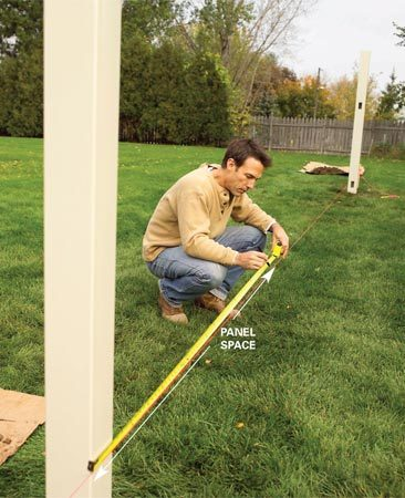 <b>Photo 2: Locate posts</b><br/>Mark the post locations on the line and then mark each posthole with a stake.