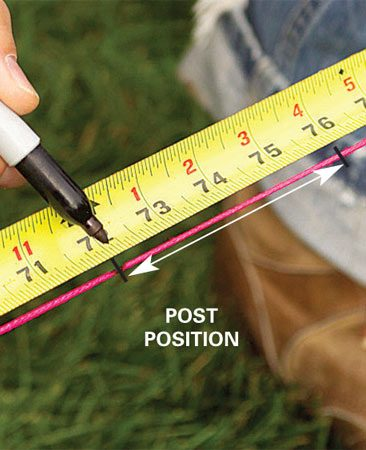 <b>Marking posts</b></br> Make the line taut, then pull the tape measure from the corner and mark the string.