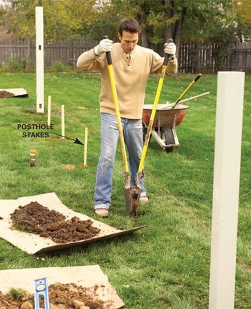 <b>Photo 3: Dig holes</b><br/>Dig 3-ft.-deep holes about 8 in. in diameter at each stake. Drop a post into each and adjust the depth to position the bottom rail 4 in. above grade.