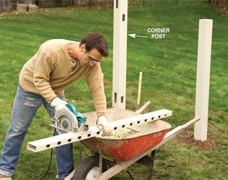 <b>Photo 5: Cut rails</b></br> Set the remaining line posts. Cut rails to fit as necessary to fill in shorter spaces.
