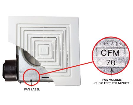 <b>Bath fan</b></br> Check the cfm volume of your fan, usually marked on a label under the grill. Replace it with a larger model if it's too small for the size of your bathroom.