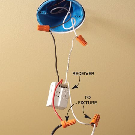 <b>Wiring the receiver</b></br> Install a receiver between the power source and the light fixture or outlet.