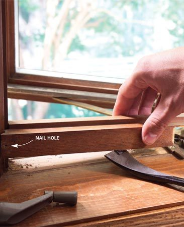<b>Photo 1: Match the old stain</b></br> Carefully remove the wood cover of the casement operator (or other piece of trim) and use it to match the stain.