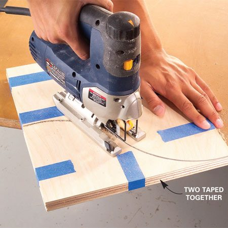 """<b>Photo 2: Cut the curves</b></br> Stack pairs so the best sides face each other and tape all the sheets together flush at the edges. """"Gang cut"""" the curve with a jigsaw or a band saw."""
