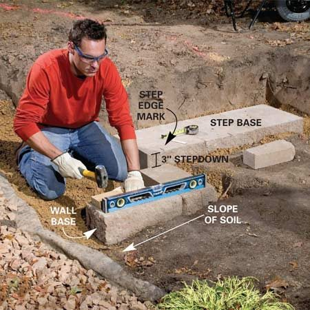 <b>Photo 4: Set the next blocks</b></br> Align and level the other stair blocks and retaining wall base course blocks with the first stair block. Drop the lower retaining wall base 3 in. deeper to make the 3-in. cap blocks flush with the top step (Figure A). Cut blocks as necessary to fit at corners