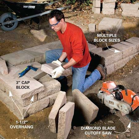 <b>Photo 7: Add cap blocks on the lower wall</b></br> Glue 3-in.-thick cap blocks on top of the lower wall. Cut them to fit tightly. Add retaining wall blocks to the high side, varying the sizes for the best appearance (Figure A). Keep the rows flush alongside the steps and step them back elsewhere.