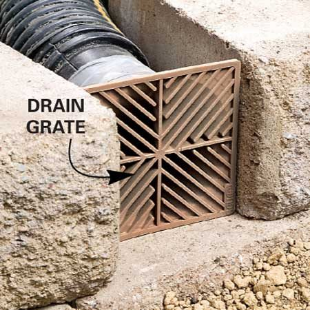 <b>Close-up of runoff drain grate</b></br>