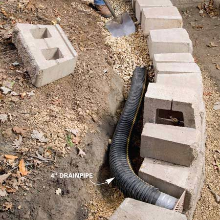 <b>Photo 9: Add drain tile behind walls</b></br> Lay in a 4-in. plastic drain behind walls more than 2 ft. high and cover it with a foot of gravel, then landscape fabric. Run the drain out through the wall with a special drain grate (next photo).