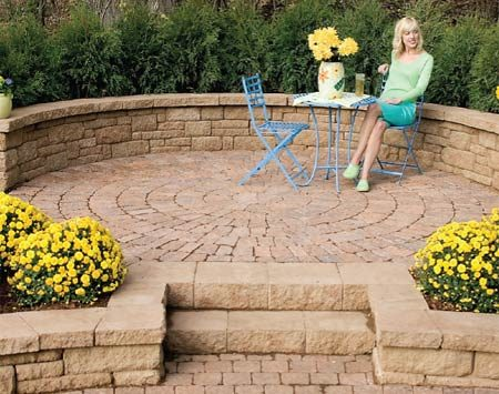 <b>Patio </b></br> Add a patio and wall to the stone path.