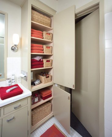<b>Updated storage closet</b></br> Adjustable shelving with Melamine surfaces was added along with a replacement tissue box holder. A hidden cabinet outlet keeps a hair dryer ready to roll and the electric toothbrushes charged.