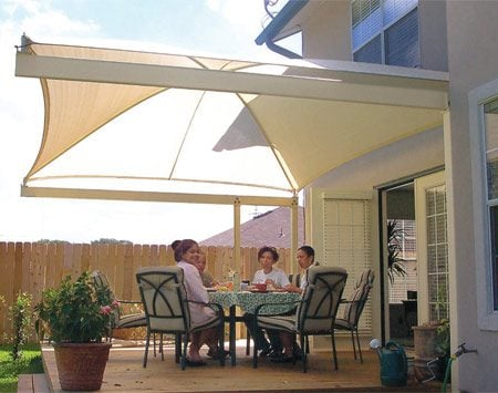 <b>Canopy awning</b></br> Canopy awnings are permanently installed, but the fabric is removable.