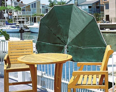<b>Sunshade</b></br> Sunshades fasten directly to the deck railing. They're good for blocking the rising or setting sun, which overhead structures miss. They're available in 6- or 8-ft. wide models.  Check the internet for suppliers.