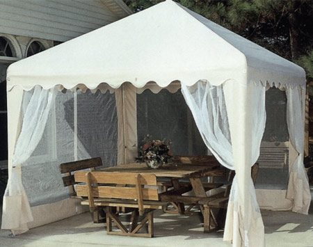 <b>Portable shade canopy</b></br> Portable shade canopies only take a few minutes to set up. You can move them wherever you want shade. The lightweight structures are essentially tents with four posts. Find them at home centers.