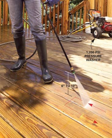 <b>Photo 2: Wash the decking</b></br> Spray one deck board at a time, using a gentle sweeping motion. Avoid sudden stops. Work from the end of the deck toward the exit. Then rinse the entire deck with a garden hose.