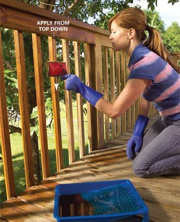 <b>Photo 8: Stain the railing first</b></br> Apply stain to the top rail, then the balusters and the posts. Work from the top down. Stain one section at a time, using a foam applicator pad. Brush out drips as you work.