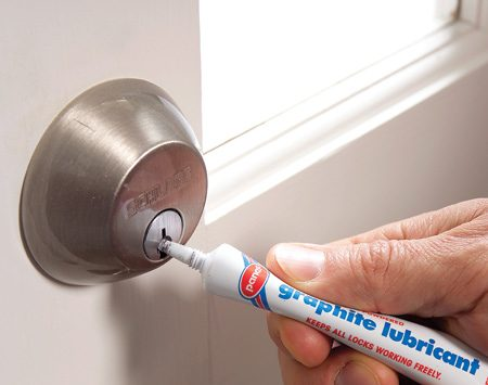 <b>Lube a lock</b></br> Use graphite to lubricate locks; unlike oil or penetrating sprays, it won't collect dust, which will clog the mechanism.