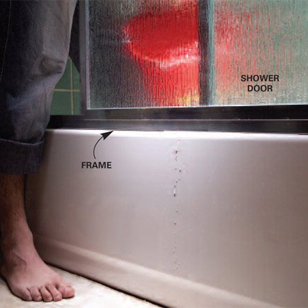 <b>Test a shower door</b></br> Splash water all around a shower door. If water seeps out from behind the frame, caulk the frame on the inside. Run a new bead along the floor/tub joint.