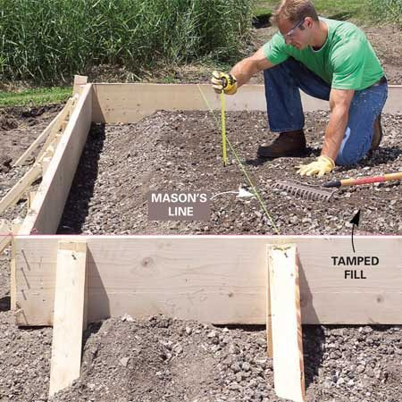 <b>Photo 4: Fill and level</b></br> Spread and tamp 3-in. layers of granular fill to within 5 in. of the top of the forms. Measure down from a string stretched across the forms. Slope the fill down along the edges to create a thickened edge of concrete.