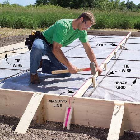 <b>Photo 6: Partition the slab</b></br> Lay a grid of rebar spaced 4 ft. apart over the plastic and connect the intersections with tie wire. Divide the slab down the middle with a 2x4 nailed to 1x3 stakes. Align the top edge with a taut string.