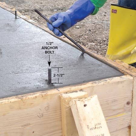 <b>Photo 10: Set the anchor bolts</b></br> Press 1/2-in. anchor bolts into the concrete before it hardens. Place bolts 1 ft. from corners and every 6 ft. Place bolts 6 in. from the sides of door openings. Leave about 2-1/2 in. of the bolts exposed.