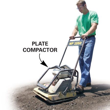 <b>Photo 4A: Pack the fill</b></br> Pack the fill solidly with a plate compactor.