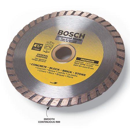 <b>Dry-cut diamond blade</b></br> A diamond blade has diamond grit embedded in the steel rim to grind away hard materials.