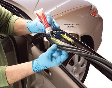 Car window weather stripping repair