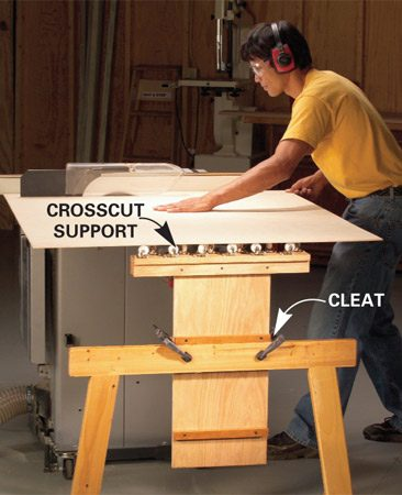 <b>Crosscut support</b></br> Swiveling casters will roll in any direction, so you can use the support on either side of the table saw or other tool.