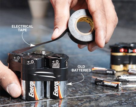 <b>Taping old batteries</b></br> Cover the ends of used batteries with electrical tape before throwing them in the trash.