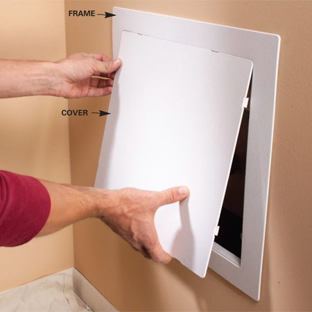 <b>Photo 3: Mount the access panel</b></br> <p>Glue the access panel's frame into place and snap on the cover after you've installed the new faucet. You can paint the panel to match the wall.</p>