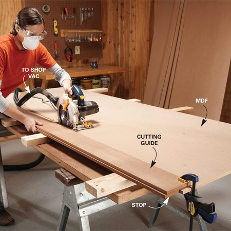 <b>Photo 2: Cut strips</b></br> Cut straight, uniform strips of MDF fast using a cutting guide with a stop on the underside. If your saw has a vacuum port, use it! Cutting MDF is dusty.