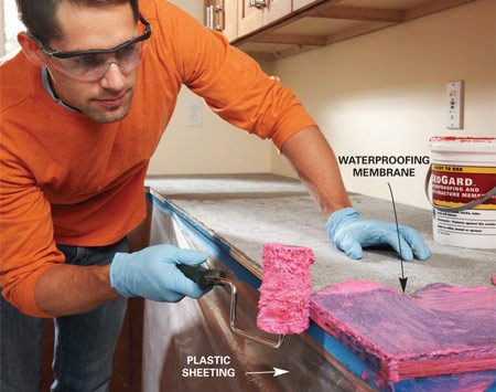 <b>Photo 1: Waterproof the base</b></br> Protect the tile base against water damage with a coat of waterproofing membrane.