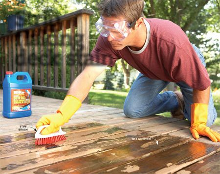 <b>Photo 1: Scrub</b></br> Scrub off old stain using a stiff brush and deck finish remover. Give the remover 15 to 30 minutes to soften the stain before you scrub.