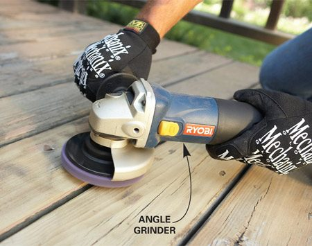 <b>Photo 2: Sand</b><br/>Sand off tough spots or small areas with a coarse stripping pad on a grinder or drill.