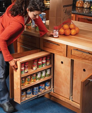 <b>Get more storage space—without remodeling</b></br> Lower cabinets offer the biggest storage spaces in most kitchens. But according to kitchen designers, the back half of this space is usually wasted—it's packed with long-forgotten junk or left unused because stored items are out of view and hard to reach. Rollout bins let you see and use the whole space.