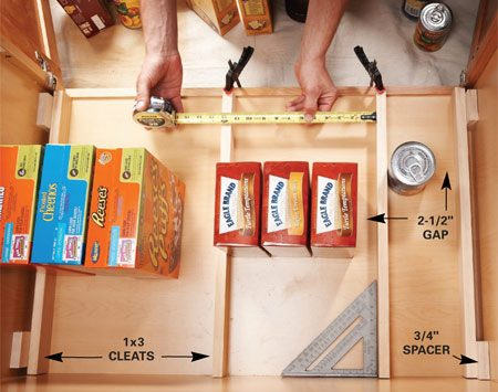 <b>Photo 1: Decide on sizes</b></br> Plan rollout widths by laying out the cleats along with the items you want to store. Space the end cleats with 3/4-in. blocks.