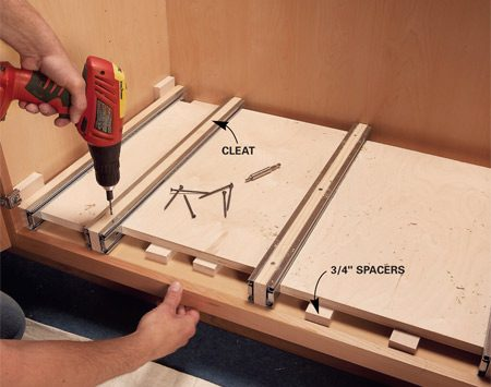 <b>Photo 6: Position the cleats</b></br> Predrill and screw the cleats to the cabinet. Use plywood scraps the same width as the boxes for perfect spacing.
