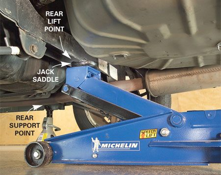 <b>Photo 3: Rear lift point</b></br> Place the floor jack so it contacts the rear lift point and raises the vehicle.