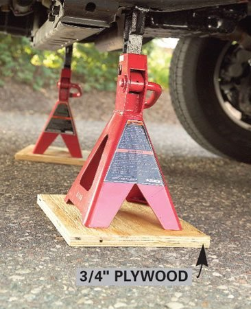 <b>Jack stands</b></br> Place jack stands on plywood support plates when you're working on an asphalt surface.