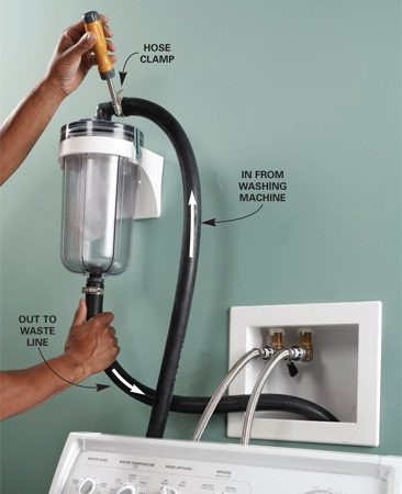 <b>Photo 2: Attach the hoses</b></br> Screw adapters to the top and bottom of the filter. Push the discharge hoses onto the barbed fittings and tighten the hose clamps.