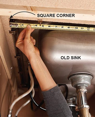 <b>Check the cutout size</b></br> <p>A sink that's too small for the countertop opening will leave ugly gaps along the sides (or even fall right through the hole!). Before removing the existing sink, measure the opening from underneath. Measure all four sides because the cutout may not be square. Pay special attention to the corners. Contractors often cut them at 90-degree angles (instead of rounding them off) because it's faster.</p>  <p>Take the measurements with you when buying the new sink and make sure it'll cover the opening, including any square corners. If you can't find a sink that'll fit, buy a larger one and enlarge the opening.</p>
