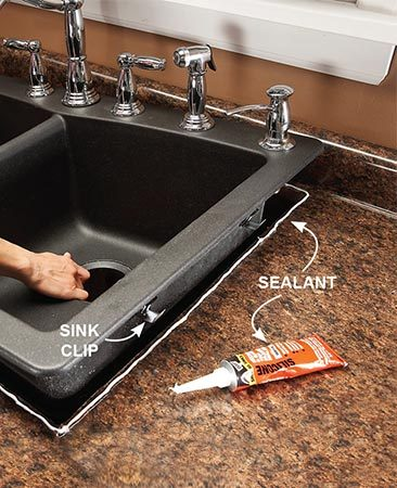 <b>Use the right sealant</b></br> <p>Plumber's putty has long been the standard sealant for sink baskets and sometimes even sink rims. The problem with putty is that it eventually dries out, cracks and causes leaks. Worse, it can damage some plastics, including some of the plastics used to make sinks. Avoid drips and disasters by using a silicone caulk instead.</p>  <p>Use a kitchen-and-bath 100 percent silicone that requires solvent cleanup—sold at home centers. Apply a bead around the sink opening when you set in the sink and around the drain opening when you set the disposer drain and basket strainer. Wipe away excess caulk.</p>