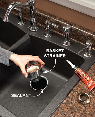 <b>Seal basket strainer</b></br> Seal around the drain opening with silicone caulk instead of plumber's putty when you set the disposer drain and basket strainer. Wipe away excess caulk.