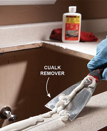 <b>Use caulk remover</b></br> <p>The caulk around your new sink is all that'll stand between your countertop and water damage. For a lasting, watertight bond with the countertop, you have to completely remove the old caulk.</p>  <p>Remove the old sink, then scrape off the caulk (or plumber's  putty) with a putty knife. Apply a caulk remover (sold at home centers) to stubborn caulk. Let the caulk remover sit for a couple of hours, then scrape off the softened caulk. Finally, use rubbing alcohol or nail polish remover to wipe off residue, and then clean the surface with a sponge and water.</p>